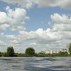 """photo """"Sight on Strogino from the Moscow - river"""""""