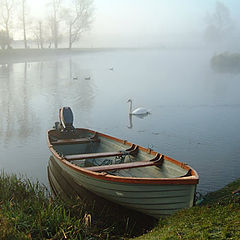 """фото """"Boat and Swan in the Mist"""""""