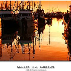 """photo """"Sunset in a harbour- 9"""""""