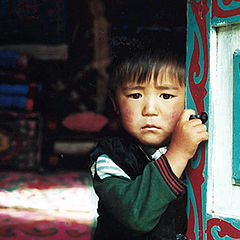 """photo """"The Kyrgyz Boy by the door of the yurta."""""""