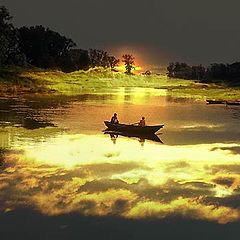 """photo """"Boat in sunset"""""""