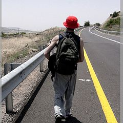 """photo """"The red cap, the yellow line and the long way"""""""