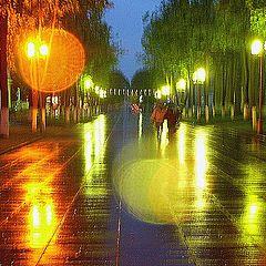 """фото """"ночной дождь в стиле импрессионизма"""""""