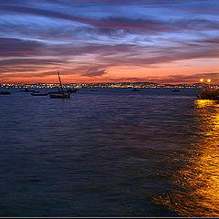 "photo ""Golden light in blue sea"""