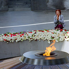 "photo ""Worshipping before memory of victims of the Genoci"""