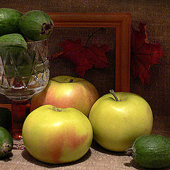 "photo ""Apples, fruits of a feijoa and red autumn"""