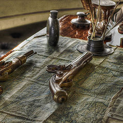 """photo """"Old map, pistols, feathers, old ..."""""""