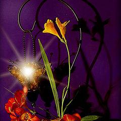 "фото ""Цветы и тени на лиловом"""
