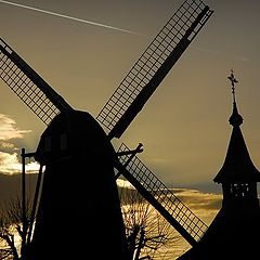 "photo ""wind mill and church"""