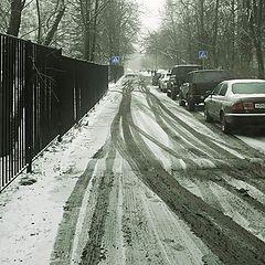 """фото """"Снег.забор,следы"""""""