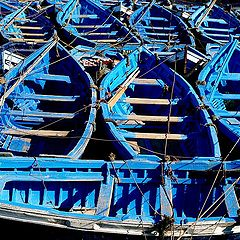 "photo ""Blue Boats in Essaouira sea..."""