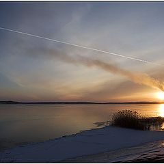 "фото ""Закат, труба и самолет"""