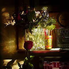 "photo ""Still life with rose, TV and a clock"""