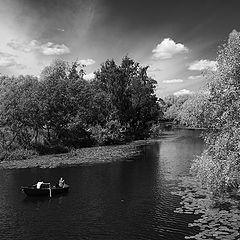 """фото """"Ч/б пейзаж с лодкой"""""""