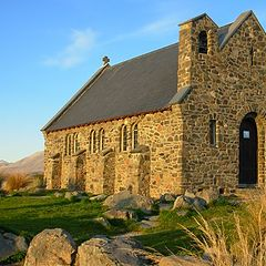"photo ""Church in isolated Tussock country ,South Island ,New Zealand."""