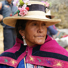 """фото """"A Chola (local woman) with a decorated hat, Hatun Machay"""""""