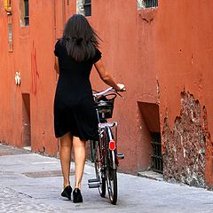 "photo ""Woman with Bicycle"""