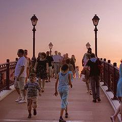 "photo ""Bridges and lights Caricyno hot evening."""