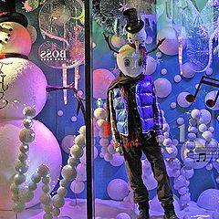 "photo ""The boy and snow man from a series ""Christmas imaginations""."""