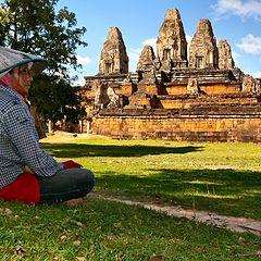 """photo """"Khmer peasant woman near a temple Pre Rup"""""""