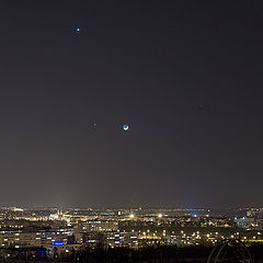 """фото """"Заход Луны, Венеры и Юпитера"""""""