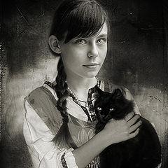 "фото ""Девочка с кошкой"""