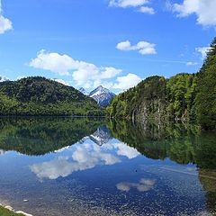 "фото ""Лебединое озеро, Нойшвайштайн, Бавария"""