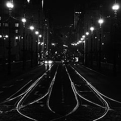 "photo ""Ночные фонари a tрамвайные пути"""