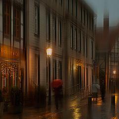 """фото """"Прохожий с красным зонтом.."""""""