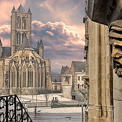 "photo ""Saint Nicholas church in wintery Ghent Belgium"""