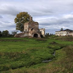 """photo """"Rural landscape with an old monastery."""""""