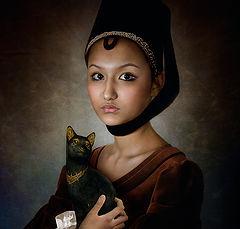 """фото """"Портрет девочки с чёрной кошкой"""""""