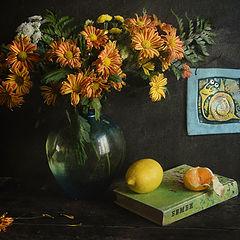 """фото """"С полосатыми хризантемами, детской книжкой и смешной улиткой."""""""