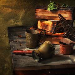 """фото """"Книги , перо и выпитое кофе"""""""