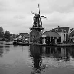 """photo """"The view of the channel and windmill in Haarlem"""""""