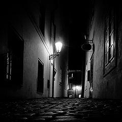 """фото """"Ночной фонарь и мостовая"""""""
