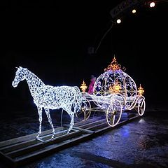 "photo ""light new year's carriage with horses"""