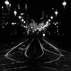 """photo """"Ночные трамвайные пути и мост-2"""""""