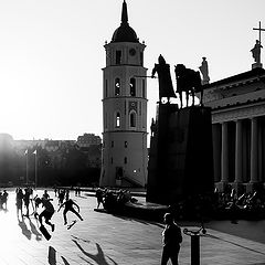 "photo ""Sunset at Vilnius Cathedral square"""