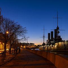"""photo """"Крейсер Аврора на Петроградской набережной."""""""