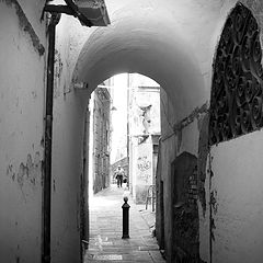 "photo ""historical center in Genoa, Italy: alley"""