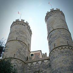 """photo """"Genoa, Italy, Porta Soprana towers"""""""