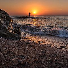 """фото """"рыбак на фоне заката"""""""