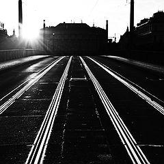 """photo """"Утреннее трамвайные рельсы"""""""