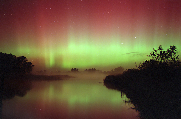 "photo ""Aurora Reflections and Marsh Fog"" tags: landscape, night, water"