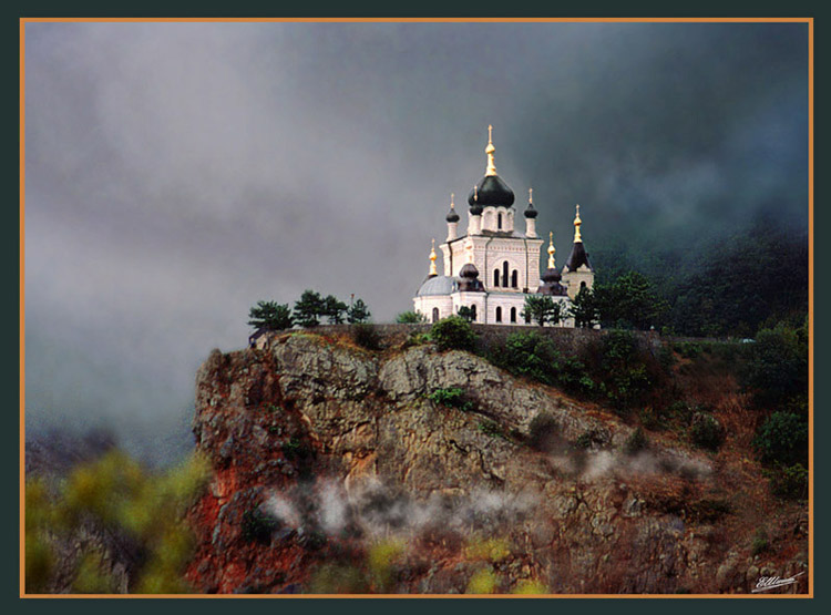 "photo ""Church of Rise in Crimea"" tags: landscape, mountains"