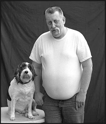 "photo ""Pieter and his Dog"" tags: portrait, man"