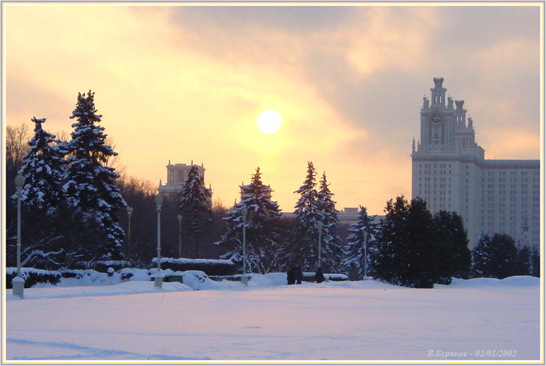 "photo ""On a tower of university - 3 o`clock (Moscow)"" tags: landscape, architecture, sunset"