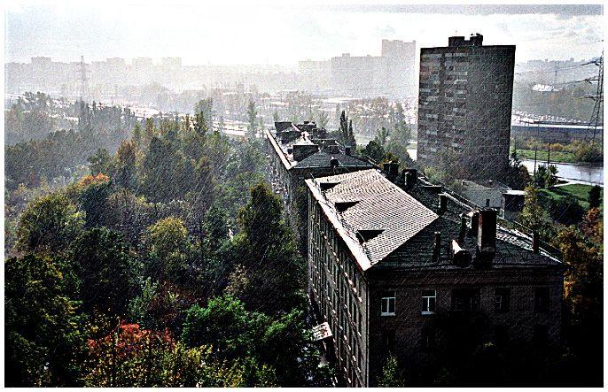 """photo """"Sudden Downpour"""" tags: architecture, landscape,"""