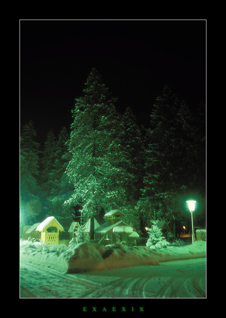 "photo ""Emerald night"" tags: landscape, night, winter"